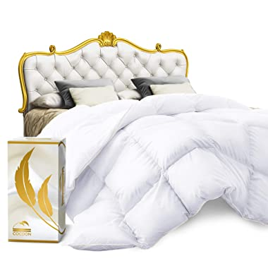 Cocoon Luxury Real Organic California King Down Comforter King Cali Size | 100% Egyptian Cotton, 1200 Thread Count 750+ Fill Power | All-Season White Siberian Goose Down-Filled Bedding Duvet Insert