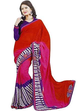 3d296b55fe Fashion Sarees Elegant Women Ethnic Wear Traditional Sari Georgette Dress:  Amazon.co.uk: Clothing