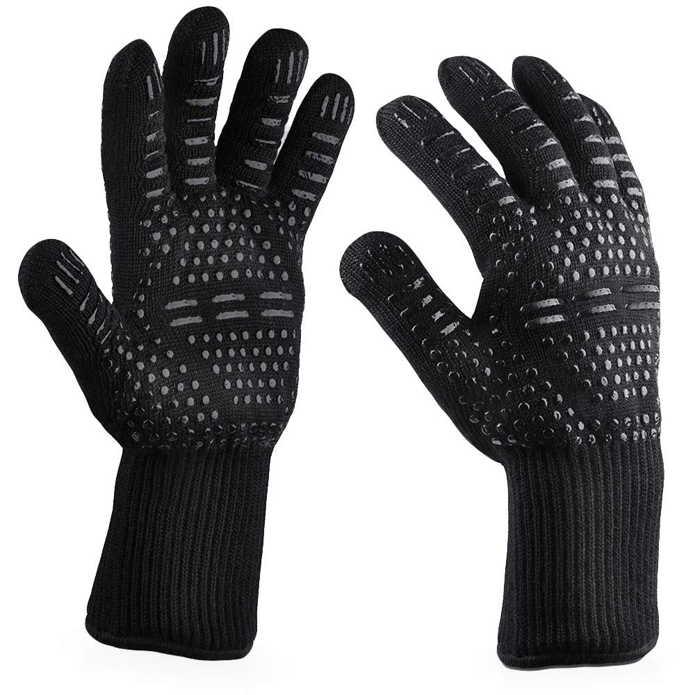 Heat Resistant BBQ Gloves, Food Grade Kitchen Oven Mitts - Flexible Hot Oven Gloves with Cut Resistant, Aramid Non-slip Cooking Gloves for Grilling, Welding, Cutting, Baking, Microwave Oven (H)
