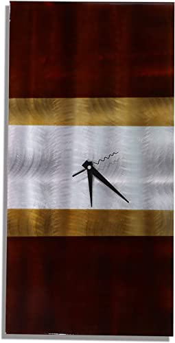 Statements2000 Modern Silver, Mahogany and Tan Abstract Wall Clock Sculpture – 3D Functional Home Office Decor Art Accent – Nocturnal by Jon Allen – 24-inch