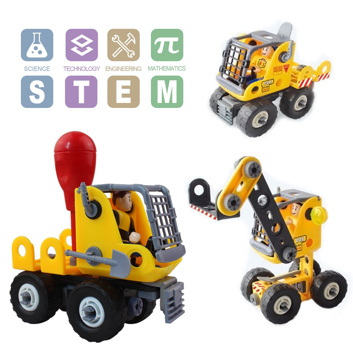 Fonxian Kids Toys Stem Learning 3-in-1 Construction Set Educational Learning Kit for Boys & Girls Age 5 6 7 Year Old