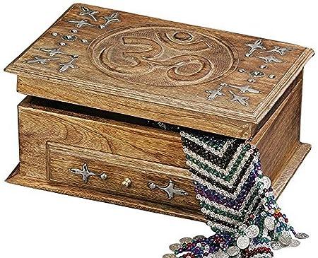 StealStreet - Caja de Madera Tallada a Mano con cajón, 25,4 cm ...