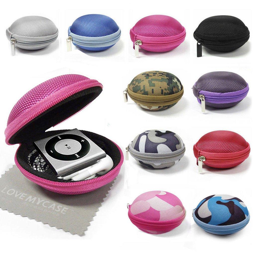 StyleBitz / Étui 'coquillage' pour ranger, protéger et transporter les écouteurs de votre MP3 Apple iPod Shuffle 2è, 3è et 4è génération, fermeture éclair, poche intérieure, extér