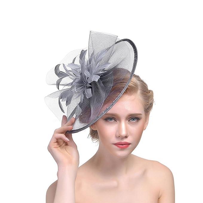 Fanvans Damen Fascinator Hut Sinamay Hinrei/ßend Feine Feder Kopfbedeckung