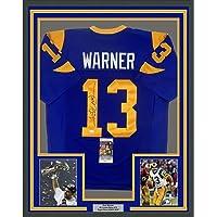 $424 » Framed Autographed/Signed Kurt Warner St. Louis 33x42 Blue Football Jersey JSA COA