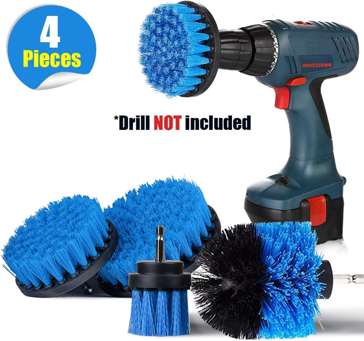 SAFETYON Cepillo de Taladro Eléctrico 4 Pieces Multifuncional Brocha para Limpiar Baño, Piso, Azulejo, Esquinas, Cocina (Azul)