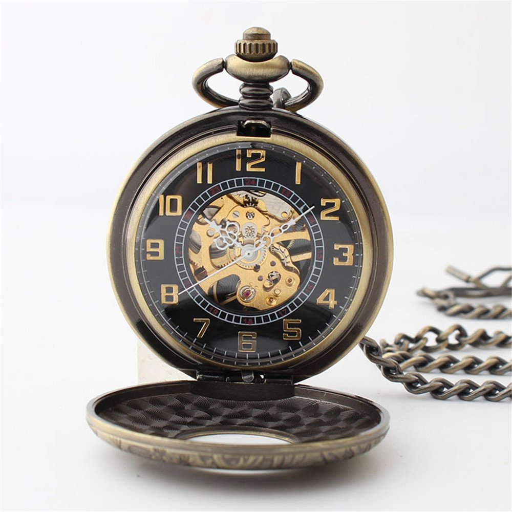 Zxcvlina Classic Smooth Retro Carving Mechanical Pocket Watch Boutique Unisex Pocket Watch Bronze with Chain for Gift Suitable for Gift Giving by Zxcvlina (Image #5)