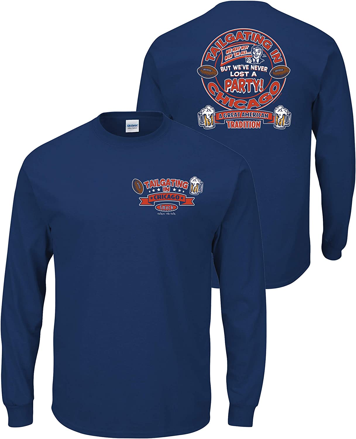 Smack Apparel Chicago Football Fans Sm-5X Tailgating in Chicago Navy T-Shirt