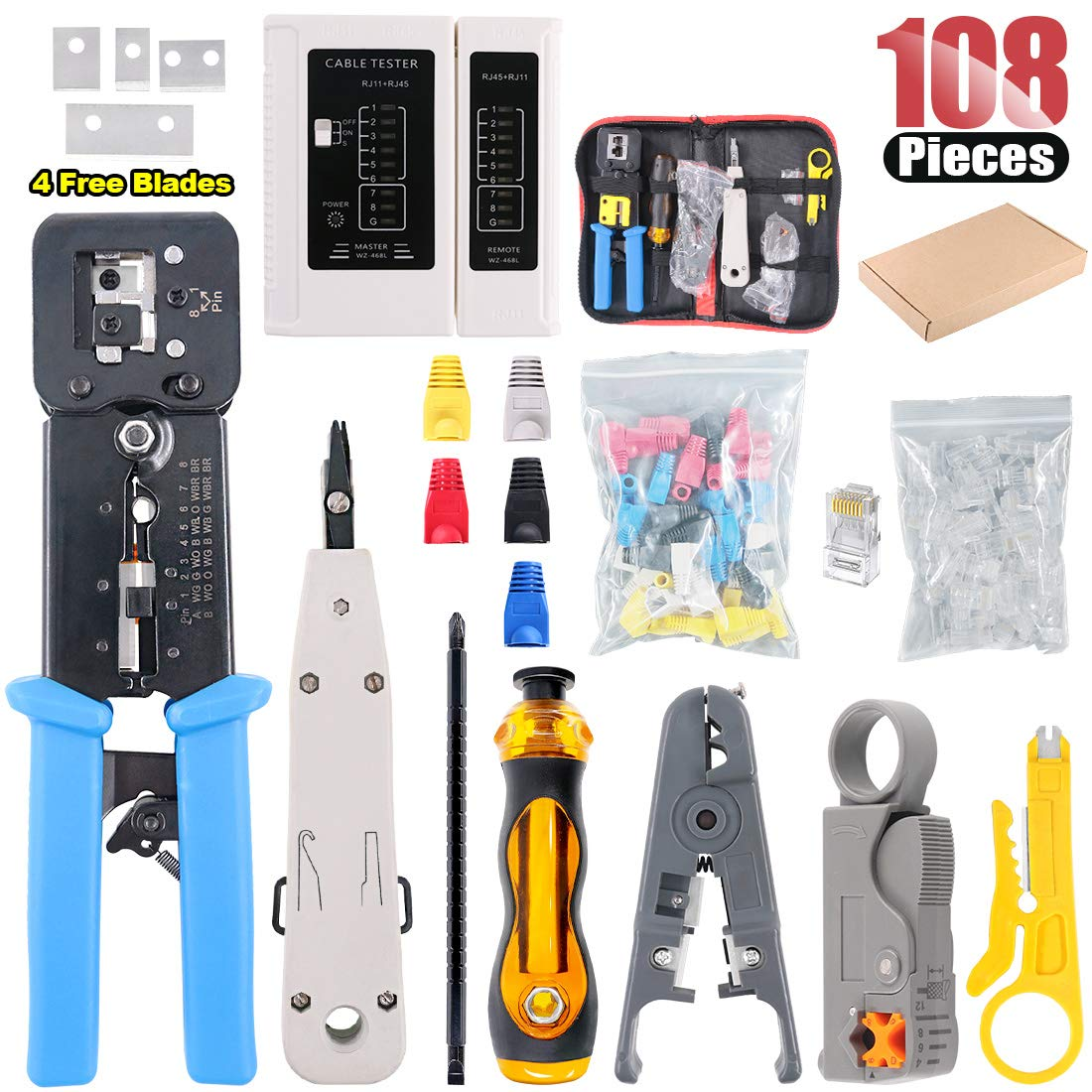 Hilitchi 108 Pcs Network Tool Kit Includes Portable Phone Cable Crimper, Cable Tester, Wire Stripping Cutter, 50Pcs Mixed Color CAT5E CAT6 RJ45 Boot, 50Pcs, Ethernet Cable Connectors, Punch Down Tool by Hilitchi