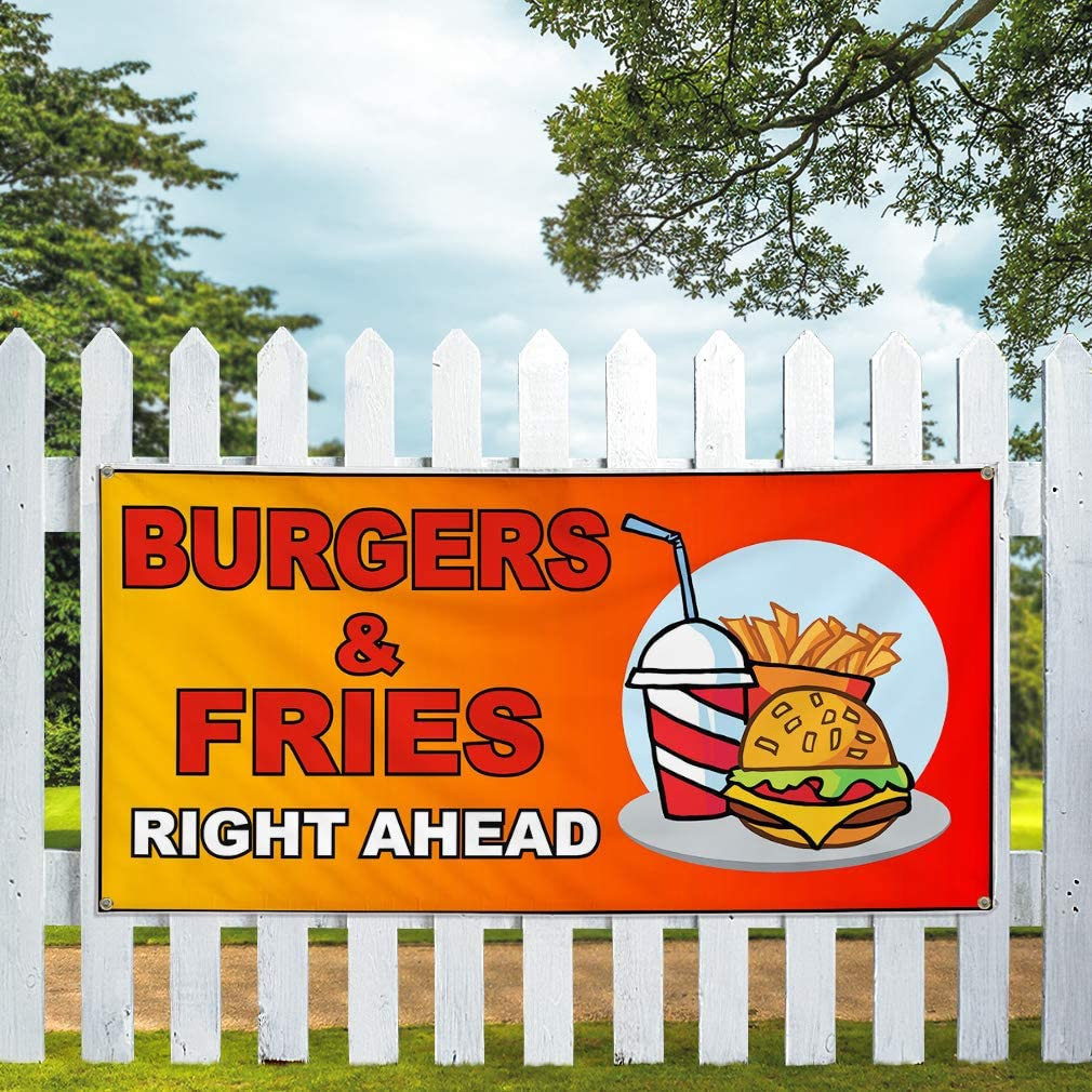 32inx80in Multiple Sizes Available Vinyl Banner Sign Burger and Fries Right Ahead Orange Marketing Advertising Yellow Set of 2 6 Grommets