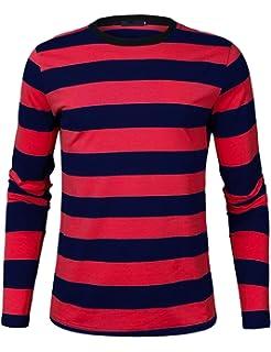 2a6f3cbe57e574 Sykooria Mens Basic Striped T-Shirt Crew Neck Cotton Vintage Couple Casual  Halloween Slim Fit