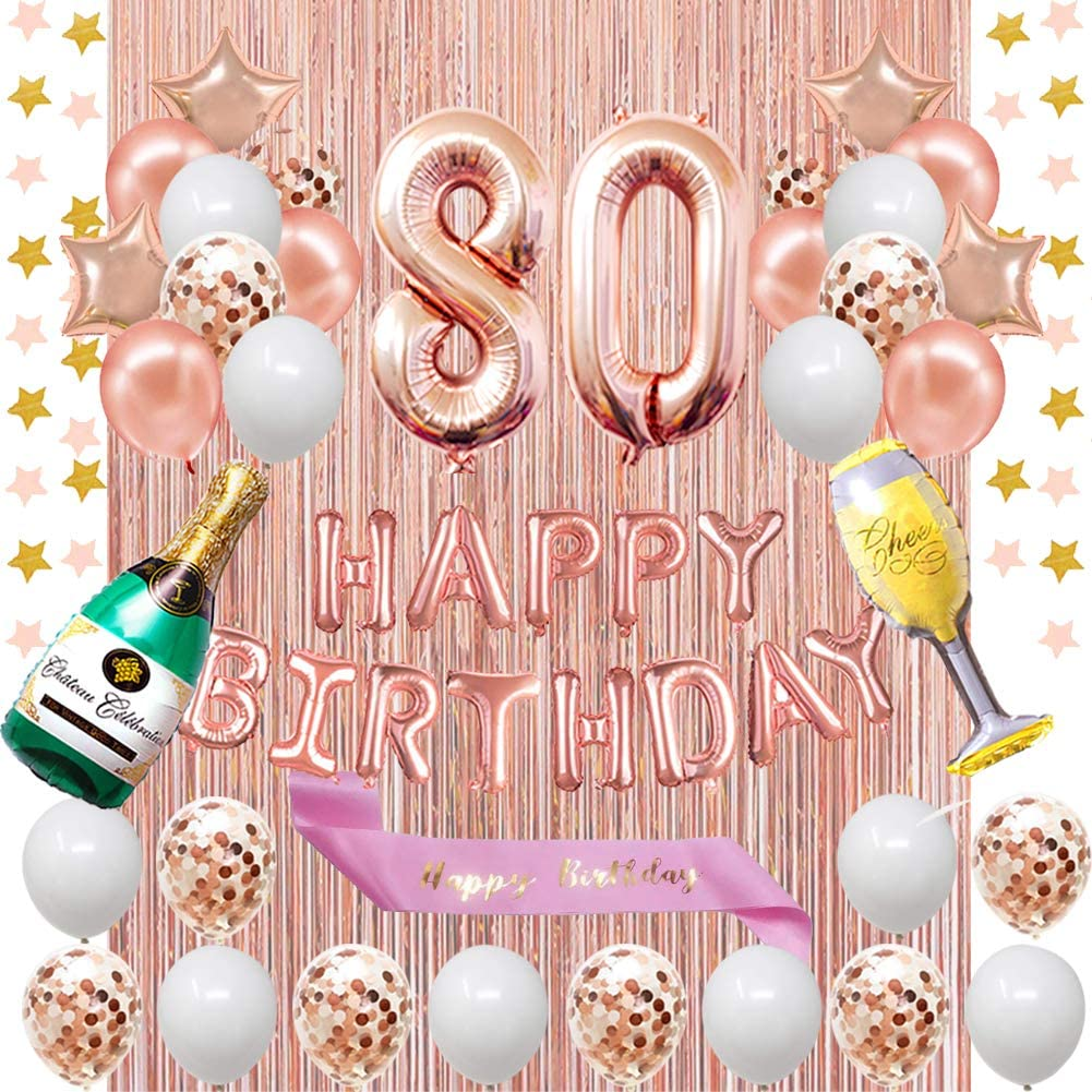 Party Balloons Garland Balloons Event Silver 80 /& Fabulous Rose Gold Balloons Anniversary Gold Balloons Letter Ballloons Birthday