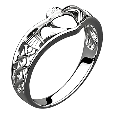 Sterling Silver Claddagh Wishbone Ring Symbol Of Friendship Love
