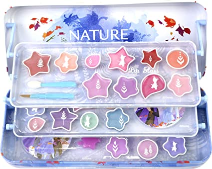 Lata de Belleza de 3 Pisos de Frozen II - Neceser Frozen II, Set de Maquillaje para Niñas - Maquillaje Frozen - Selección de Productos Seguros en un Estuche con 3 Pisos: Amazon.es: Belleza