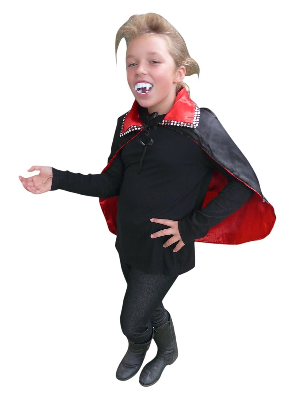 DE14 vampiro diablo capa reversible del Cabo en negro o rojo en contacto - para niños y adultos Disfraz de Halloween, un tamaño, tanto para niños de Gr. 92 y adultos de hasta tamaño. M