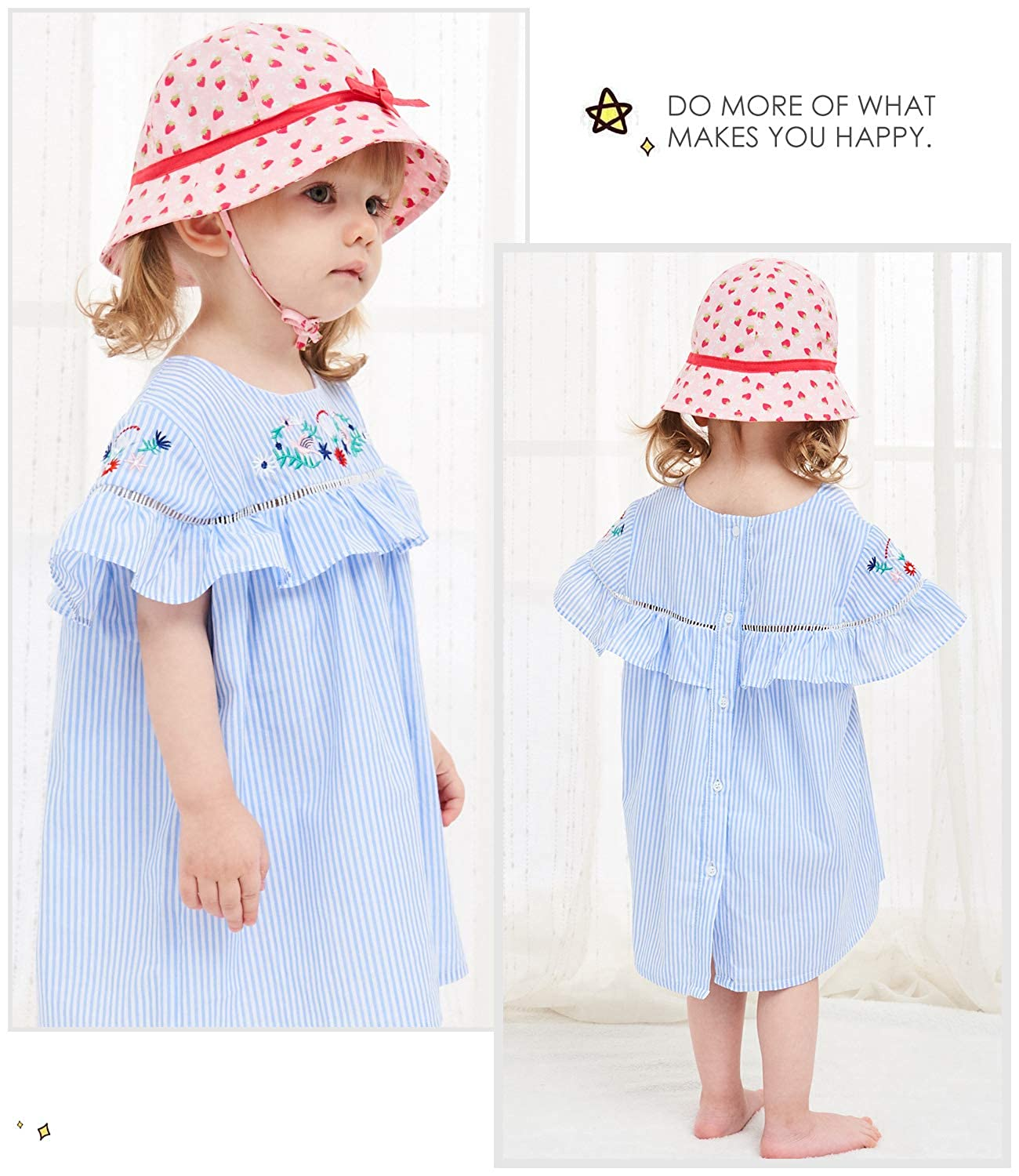 Alleza Kids Bucket Sun Hat for Girls Toddlers Baby Cotton Breathable Beach Sun Protection Cap Strawberry Cute Adjustable Multi Size