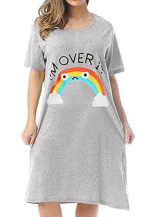 Mobisi Womens Short Sleeve Nightgown Sleepwear Rainbow Print Sleep Shirt  Pajama Dress at Amazon Women s Clothing store  2185d9f05