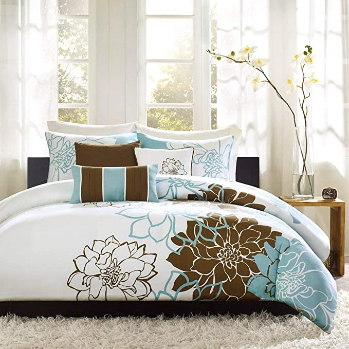 Madison Park MP12-2642 Lola 6 Piece Duvet Cover Set Aqua Full//Queen
