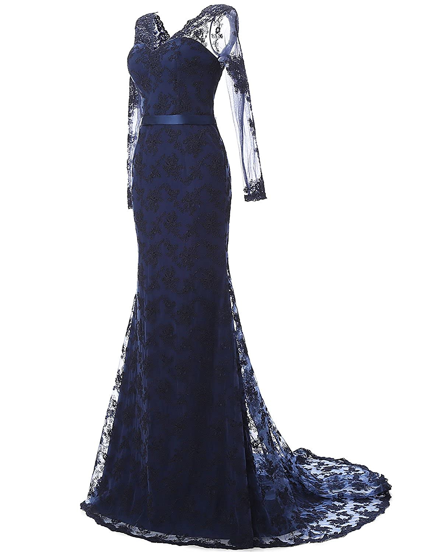 Amazon.com: LovingDress Women\'s Prom Dresses Lace and Tulle V-Neck ...