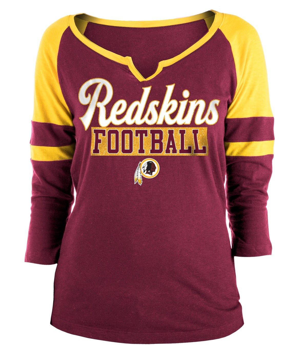 386bd3443 Amazon.com   New Era Washington Redskins Ladies Slub Jersey 3 4 Sleeve  Raglan Split Scoop T-Shirt   Sports   Outdoors