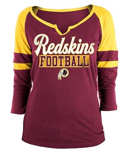 1db7c1327 New Era Washington Redskins Ladies Slub Jersey 3 4 Sleeve Raglan Split  Scoop T-