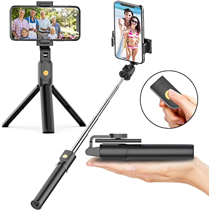 Available with Fill Light Type to Choose ,Compatible with iPhone and Android Phone Sports Camera Support Devices with a Width of 2.5-3.3 E-ACE Bluetooth Selfie Stick Tripod with Wireless Remote