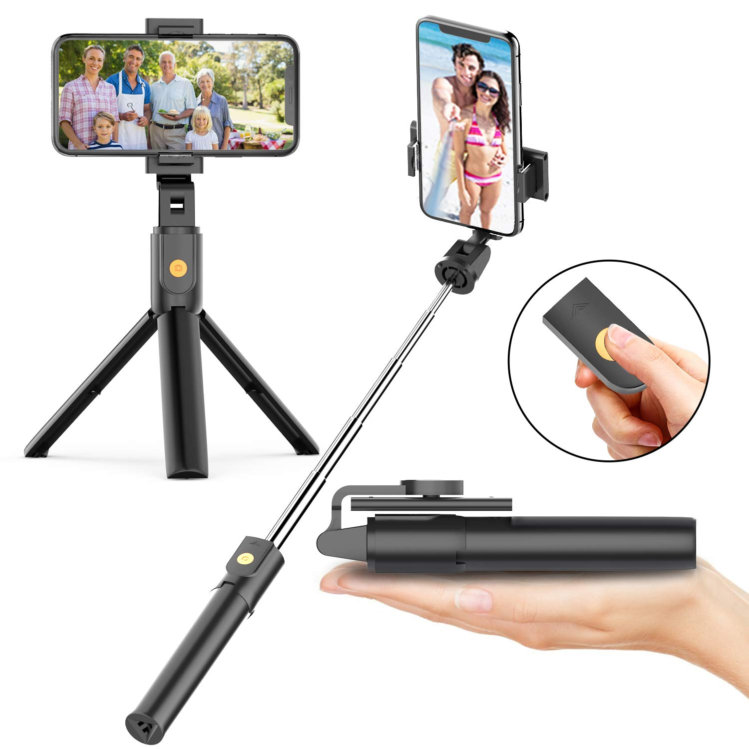 Selfie Stick Tripod with Bluetooth Wireless Remote, 3 in 1 Extendable Selfie Stick with Tripod Stand for iPhone X XR XS MAX 7 8 Plus,Galaxy S9 Plus S8 Plus Note8 by Appolab