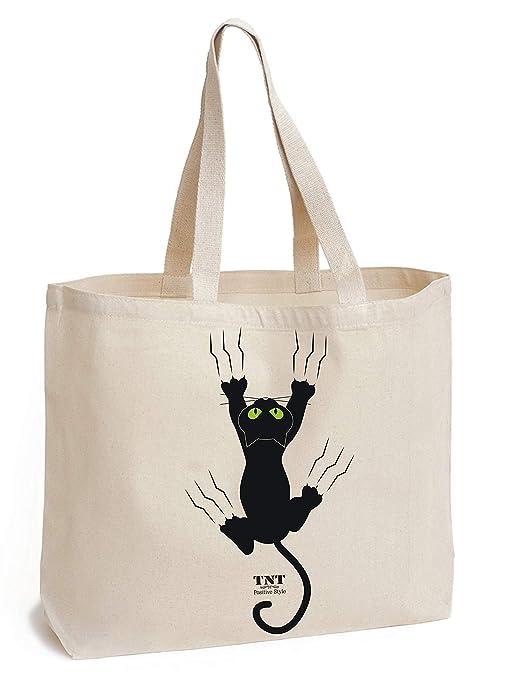 Bolsa de algodón con parte inferior - gran bolsa de lona - único estampado de gato - bolsa de la compra grande - natural - sólido algodón de 195 g/m² ...