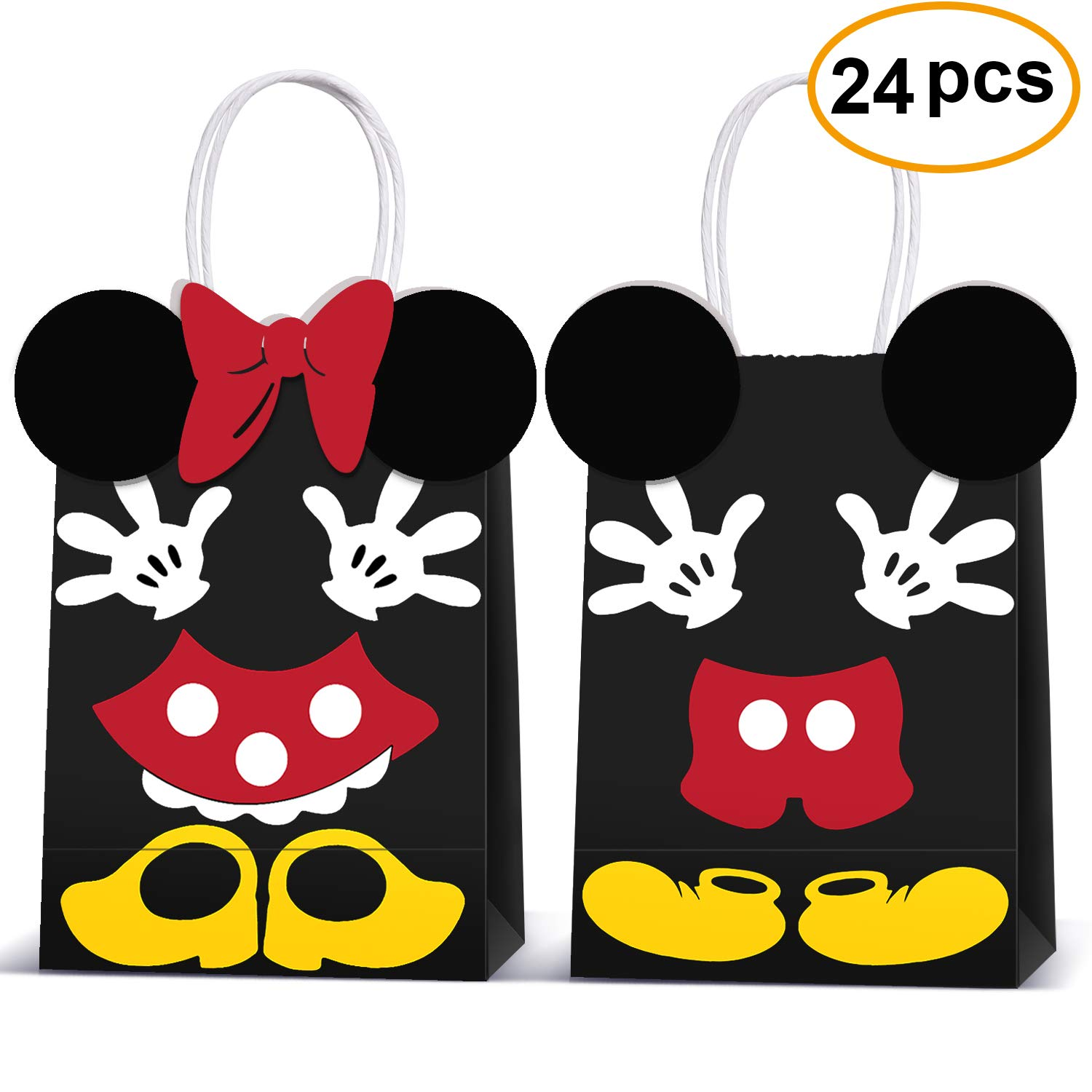 Minnie Mouse Party Supplies Bags -Micky Minnie Paper Treat Candy Gift Bags for Kids Birthday Micky Minnie Party Supplies -24 Piece by Rekcopu