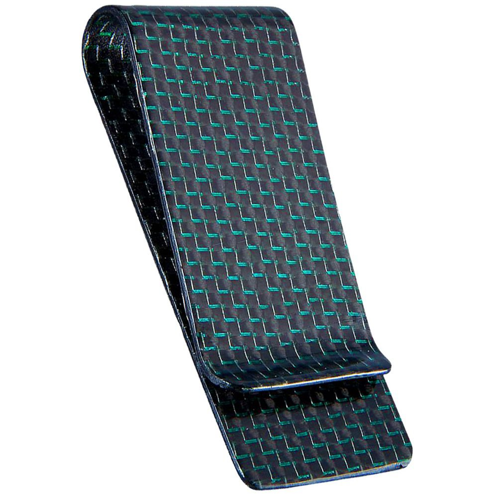 CL Carbonlife(TM) Carbon Fiber Glossy Money Clip Credit Card Business Card Holder Green M