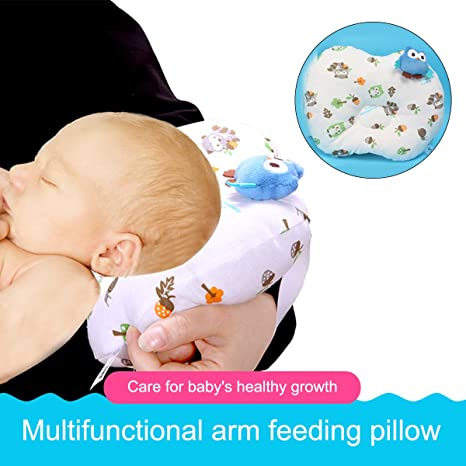 Almohada de lactancia de viaje, brazo antideslizante, almohada de lactancia para bebé, funda 100% algodón azul azul