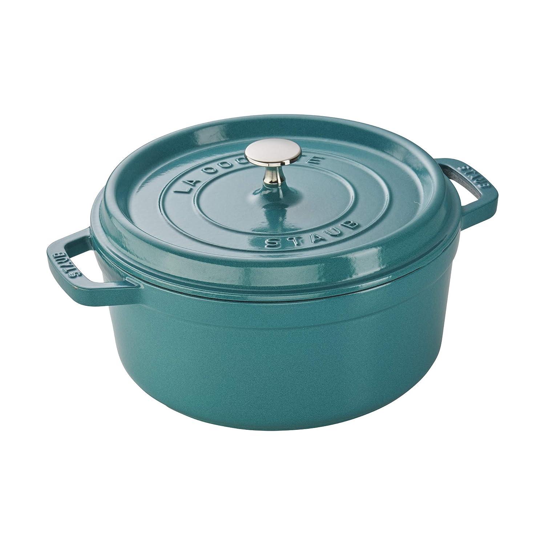 Staub 11024105 Cast Iron 4-qt Round Cocotte, Turquoise