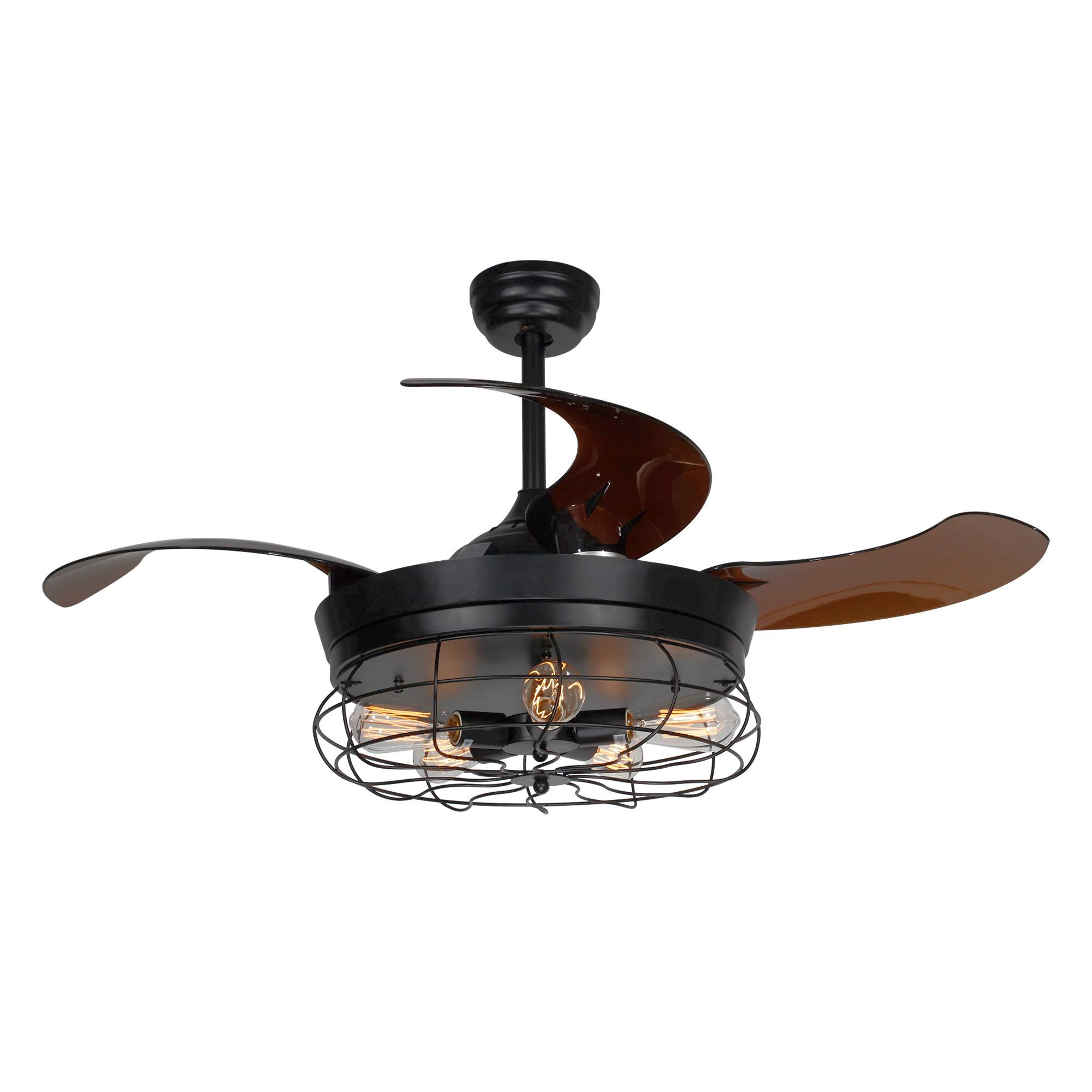 Parrot Uncle Ceiling Fan with Light 46 Inch Industrial Ceiling Fan Retractable Blades Vintage Cage Chandelier Fan with Remote Control, 5 Edison Bulbs Needed, Not Included, Black