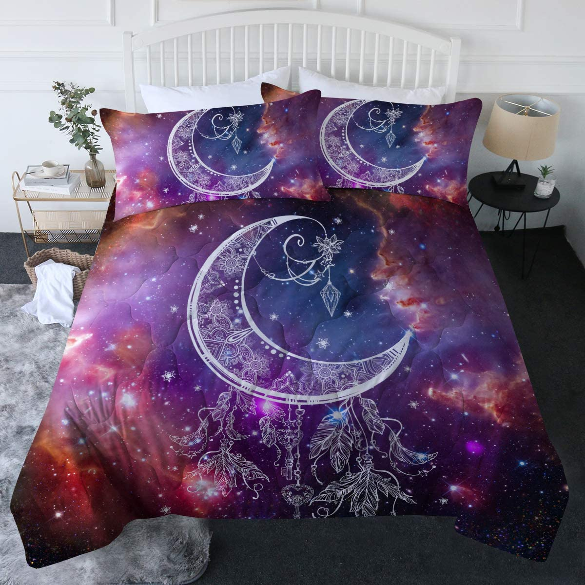 BlessLiving 3 Piece Crescent Moon Comforter Set with Pillow Shams Boho Feather Bedding Set with 3D Printed Designs Reversible Comforter King Size Duvet Sets, Purple Star Galaxy