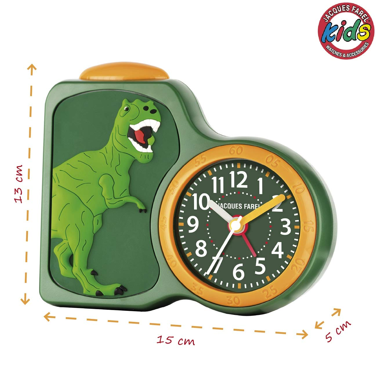 JACQUES FAREL/ con luz y repetici/ón ACB 06dino /Despertador Infantil ni/ño Dinosaurios Verde sin Tic TAC