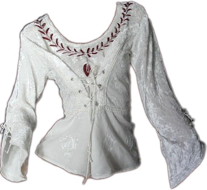 Dark Dreams Gótico Medieval Blusa mieder Blusa terciopelo Top borten moona