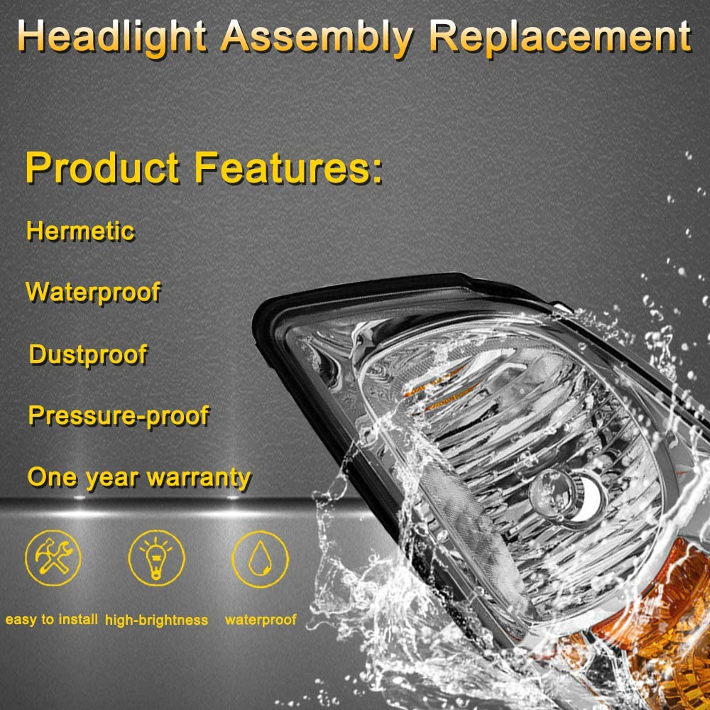 05-10 Chevy Cobalt 05-06 Pontiac Pursuit Headlamp Replacement with Black Housing Clear Lens JSBOYAT Headlight Assembly Compatible with 07-10 Pontiac G5 Driver and Passenger Side
