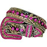 Western Peak Women's Camouflage Leather Studded Rhinestone Bead Belt
