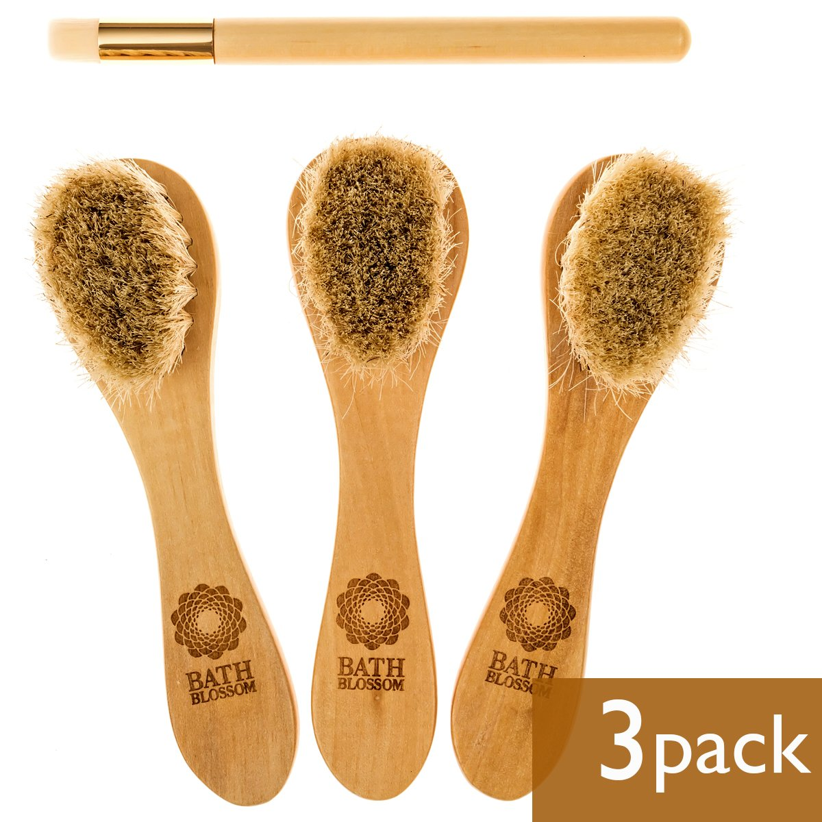 Bath Blossom Face Cleansing Brush for Facial Exfoliation - Skin Cleaning Scrubber Brush - Natural Bristles Exfoliating Face Brushes for Dry Brushing and Scrubbing - Suitable for Men and Women