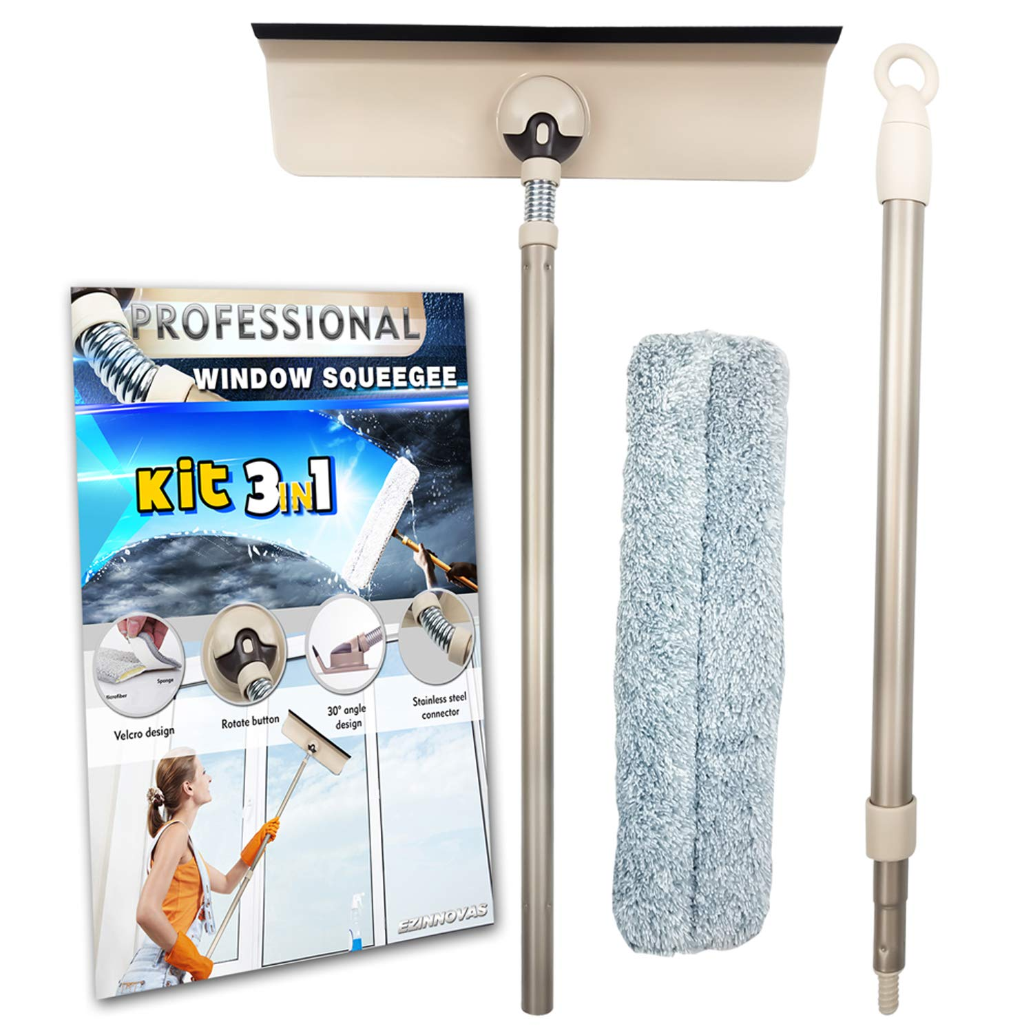 Professional Window Squeegee Kit 3 in 1 Window Cleaning for Glass, Mirror, Shower, Home, Bathroom, and Cars. Aluminum Alloy Extension Pole with Microfiber Scrubber, Compact, Detachable Cleaner.