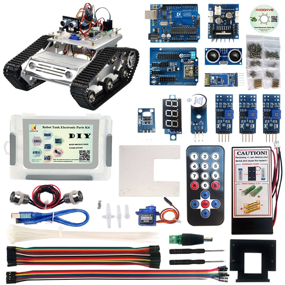 KOOKYE Robot Car Electronics Parts Kit CD Tutorial Tank Chassis Platform Arduino Raspberry Pi DIY (Robot Car Parts Kit) 2017010700