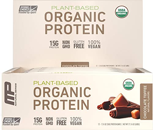 MP Organic Protein Bar, Certified USDA Organic, 15g Plant Based Protein, No Artificial Ingredients, Gluten Free, Non GMO, Chocolate Toffee, 12 Bars