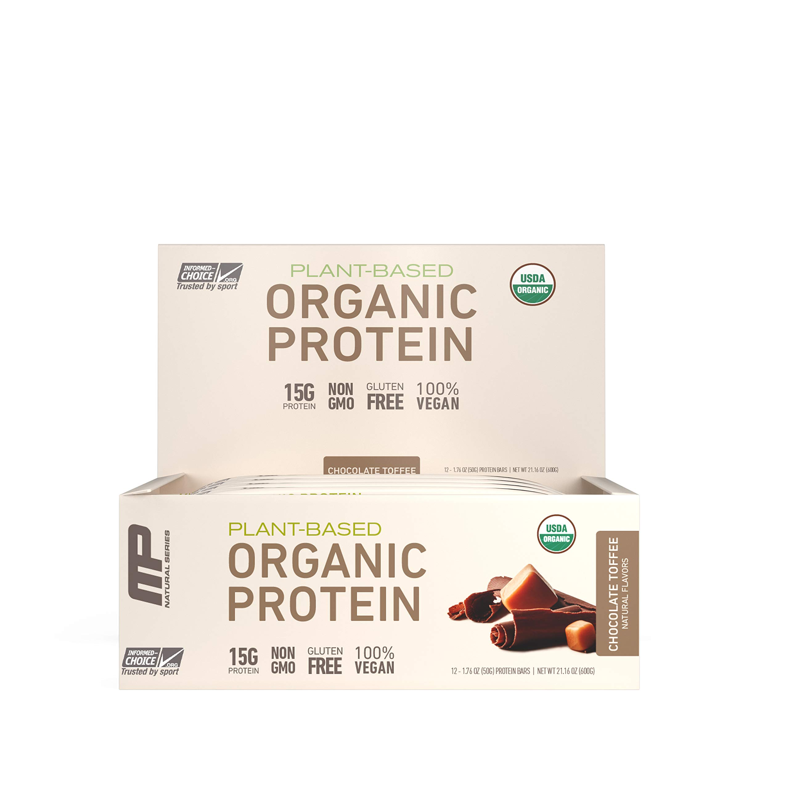 MP Organic Protein Bar, Certified USDA Organic, 15g Plant Based Protein, No Artificial Ingredients, Gluten Free, Non GMO, Chocolate Toffee, 12 Bars by Muscle Pharm
