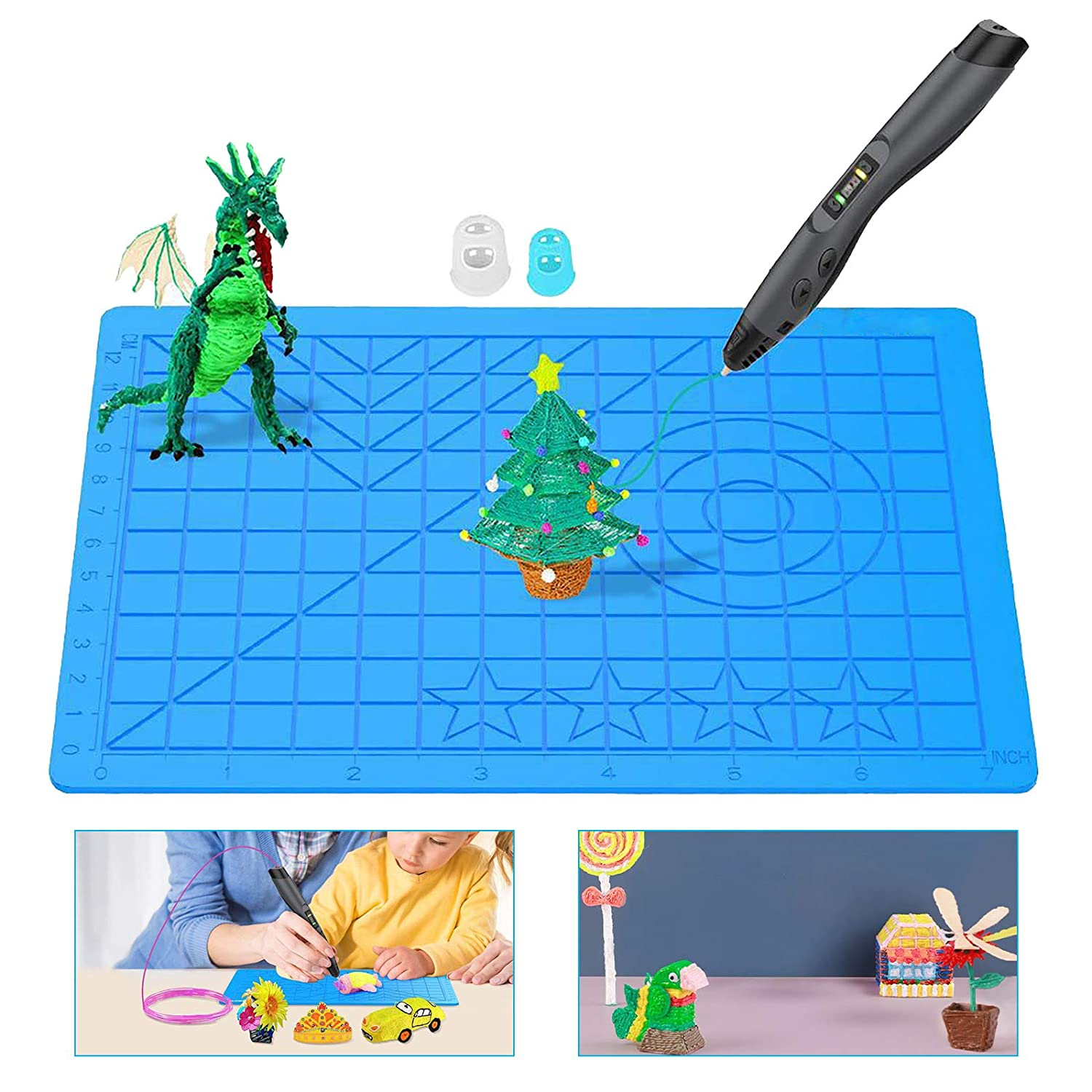 15 X 20 X 0.3 cm 3D Printing Pens Mat Silicone Pen Pad Design Mat with Patterns Mat 2 Finger Protectors
