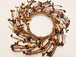 """MerdCraft Mullberry Pip Candle Ring Country Primitive Floral Décor - Plum, Burgundy, Old Gold Pips - Perfect Candle Ring for 3"""" Pillars"""
