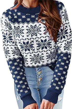 YOINS Suéter Punto Mujer Invierno Suéteres Navideños Jersey de Cuello Redondo Camiseta Manga Larga Jerséis Basico Suelto Jerseys Camisa Mujer ...