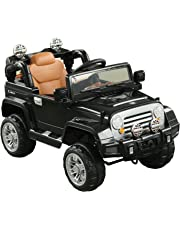 Aosom 12V Kids Electric Ride On Toy Truck Jeep Car with Remote Control 2 Speeds Lights MP3 LCD Indicator (Black)