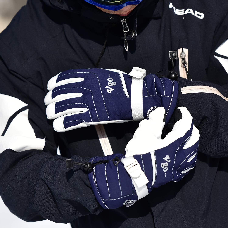 avec Doublure Imperm/éable 2 Paires, Noir et Bleu Fonc/é, SF-GA2444FWP2-M 2 Paires Gants de Ski -20℃ ou sup/érieur Doubl/és 3M Thinsulate G80 Anti-Froid en Cuir de Ch/èvre pour Hommes Vgo..