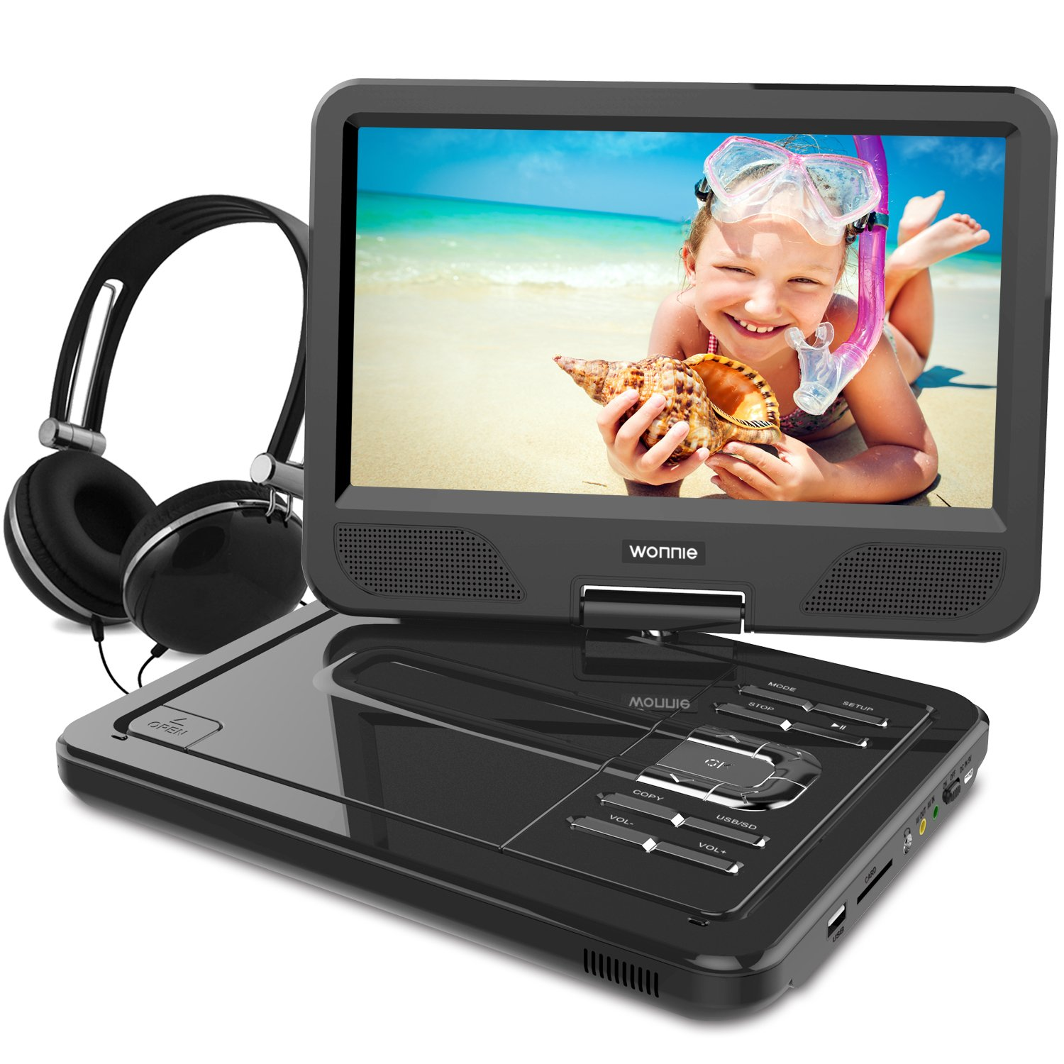 WONNIE 10.5 Inch Portable DVD Player with Rechargeable Battery, Swivel Screen, SD Card Slot and USB Port and Stereo Earphones (Black) by WONNIE