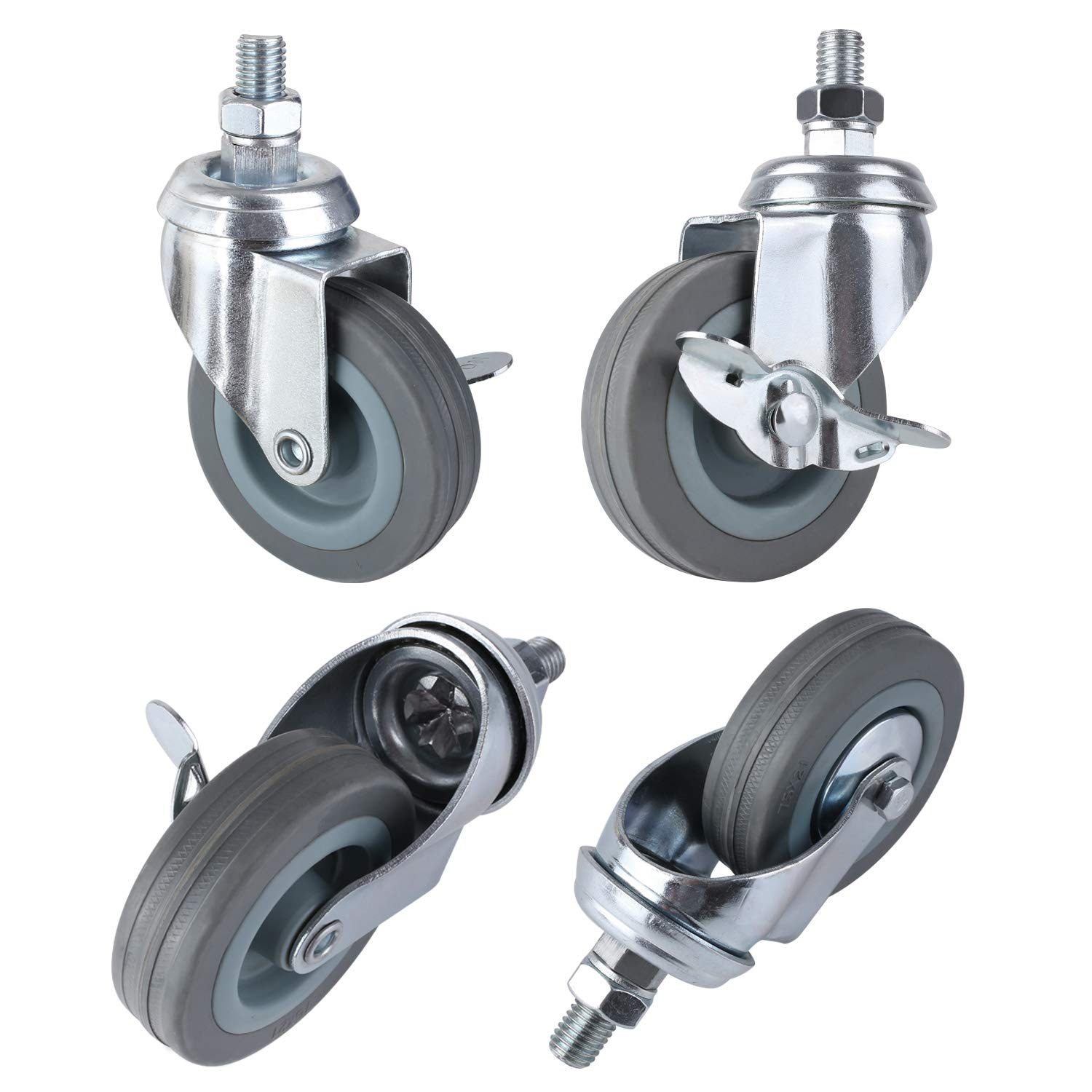 MVPOWER 3'' Swivel Caster Wheels, 4 Pack Threaded Stem Mount Dust Cover Rubber Heavy Duty Casters Replacement for Carts, Furniture, Dolly,Trolley, Workbench